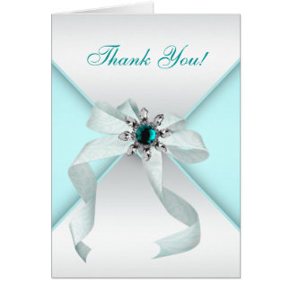 White Bow Teal Blue Thank You Cards