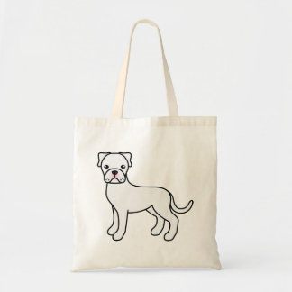 White Boxer Cartoon Dog Tote Bag