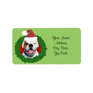 White Boxer Dog Christmas address labels