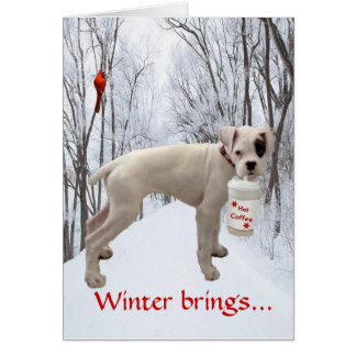 White Boxer Holiday Greeting Card