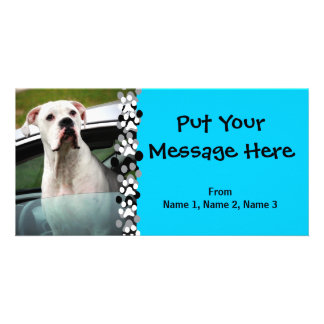 White Boxer in a Car Customized Photo Card