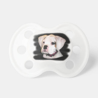 White Boxer puppy Baby Pacifiers