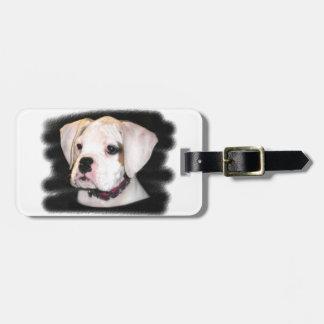 White Boxer puppy Luggage Tag