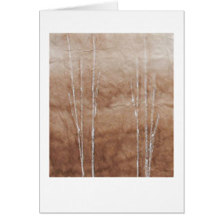 White branches on sepia abstract painting card