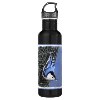 White-Breasted Nuthatch Painting Original Bird Art 710 Ml Water Bottle