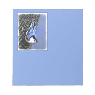 White-Breasted Nuthatch Painting Original Bird Art Notepad