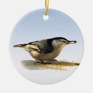 White-breasted Nuthatch Round Ceramic Ornament