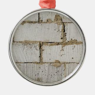 White Brick Silver-Colored Round Ornament