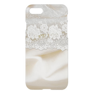White bridal lace on silk iPhone 8/7 case