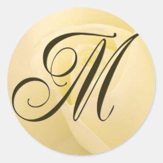 White Bridal rose - Initial M Classic Round Sticker