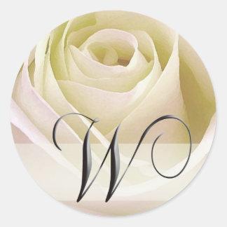 White Bridal Rose Monogram Sticker...Initial W Round Sticker