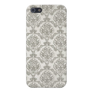 White Brocade Damask Print iPhone 5 Cover
