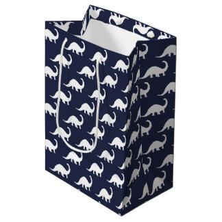 White Brontosaurus Dinosaurs Print Medium Gift Bag