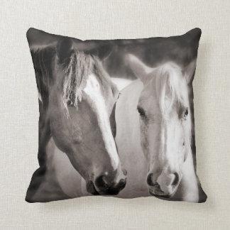 White Brown Horses Sepia Horse Throw Pillow