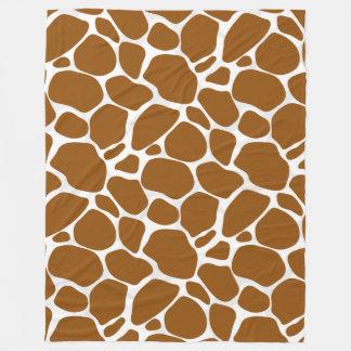 White & Brown Leopard Print Pattern Fleece Blanket