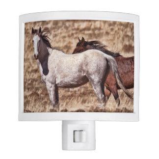 White & Brown Mustang Horses Night Light