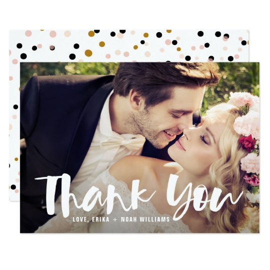 White Brush Script Photo Wedding Thank You Card