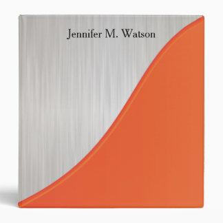 White Brush Steel with Orange Corner Vinyl Binders