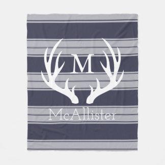 White Buck Antlers Gray Stripes Family Name Fleece Blanket