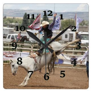 White Bucking horse Clock