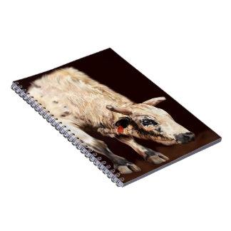 White Bucking Rodeo Bull Notebook