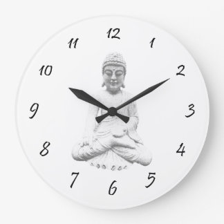 White Buddha Large Clock
