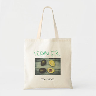 White Budget Tote bag for vegan girl with avocados