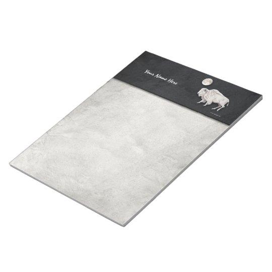 White Buffalo Full Moon Light Grey Notepad