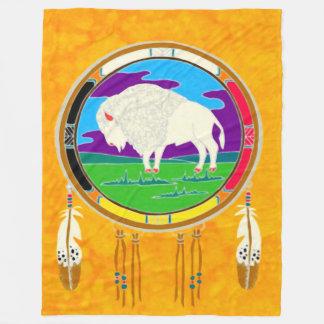 White Buffalo Native American Fleece Blanket