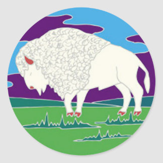 White Buffalo Native American Round Sticker