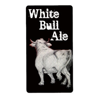 White Bull Ale Homebrewing Beer Brew Bottle Label Shipping Label