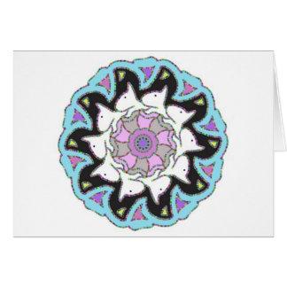 White Bull Terrier Pink/Blue Symmetrical Design Card