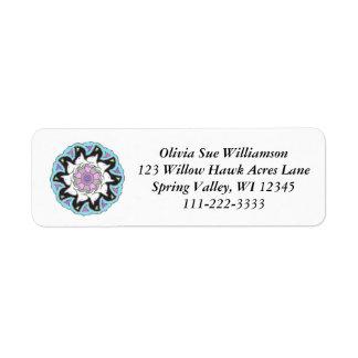 White Bull Terrier Pink/Blue Symmetrical Design Return Address Label