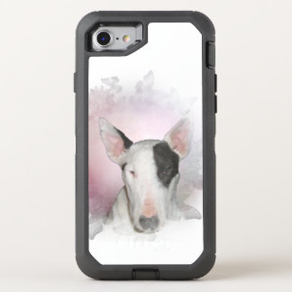 White Bull Terrier Pink Butterfly OtterBox Defender iPhone 8/7 Case