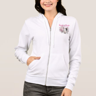 White Bull Terrier Pink Butterfly Zipped Hoodie