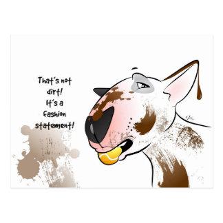 "White Bull Terrier Postcard ""Fashion Statement"""