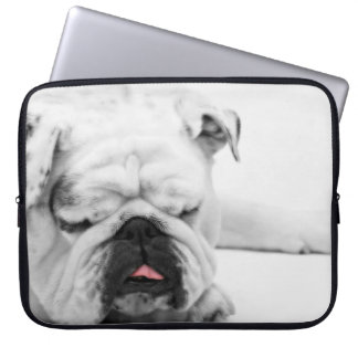 White Bulldog Love Laptop Computer Sleeves