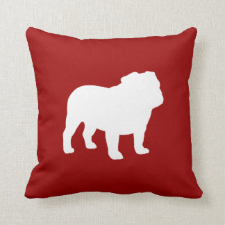 White Bulldog Silhouette on Red (Customizable) Throw Pillow