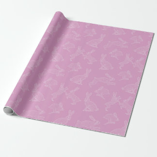 White Bunnies on Pink Background Wrapping Paper