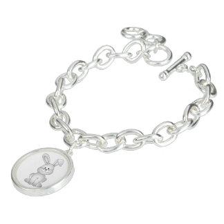 White bunny clipart charm bracelet