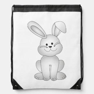 White bunny clipart drawstring bag