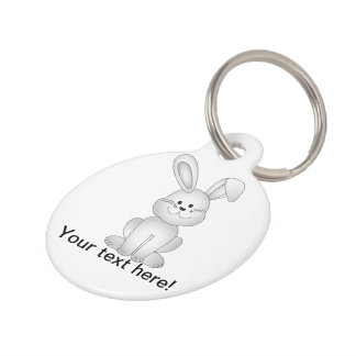 White bunny clipart pet name tag