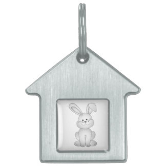White bunny clipart pet tag