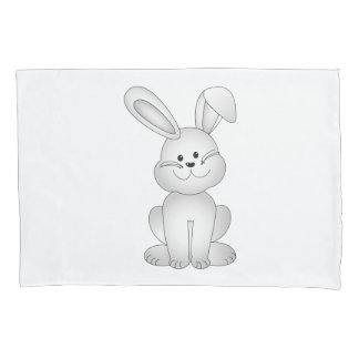 White bunny clipart pillowcase