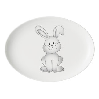 White bunny clipart porcelain serving platter