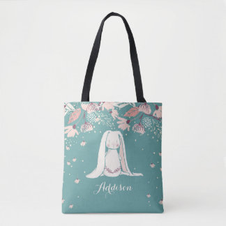 White Bunny & Flowers | Custom Name Tote Bag