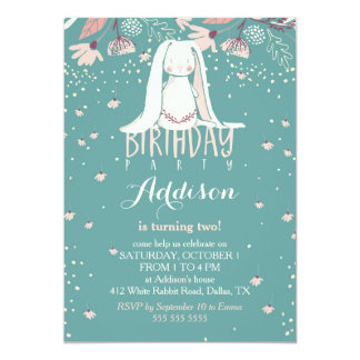 "White Bunny & Flowers | Pink & Teal Kids Birthday 5"" X 7"" Invitation Card"