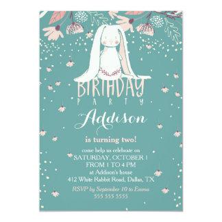 "White Bunny & Flowers | Pink & Teal Kids Birthday 5"" X 7"" Invitation Card"