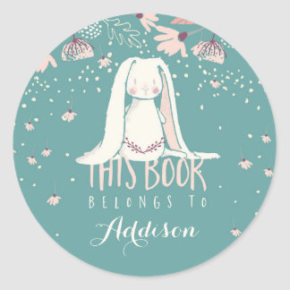 White Bunny & Flowers This Book Belongs To Round Sticker