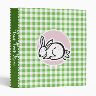 White Bunny; Green Gingham 3 Ring Binder